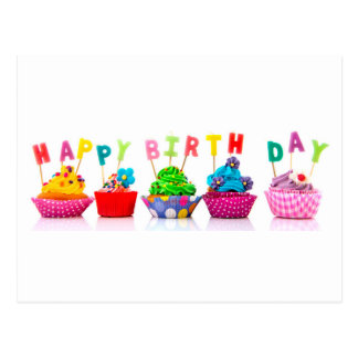 Happy Birthday Cupcakes Postcard