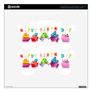 Happy Birthday Cupcakes PS3 Controller Decal