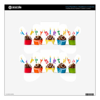 Happy birthday cupcakes PS3 controller decals