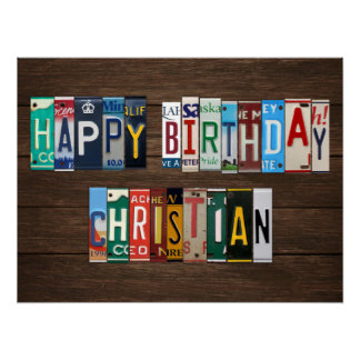 Happy Birthday Custom License Plate Lettering Sign Poster