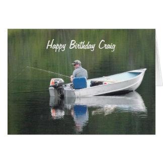 Happy Birthday Custom Name Fishing on Lake in Boat Card