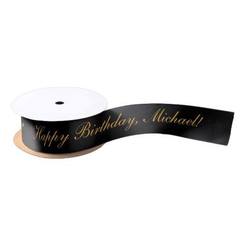 Happy Birthday Custom Text Black Chic Satin Ribbon
