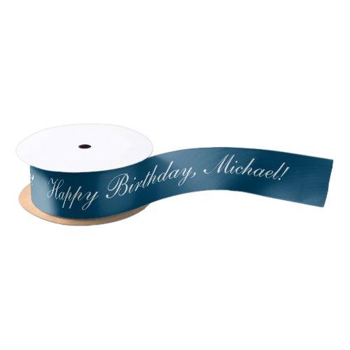 Happy Birthday Custom Text Ocean Blue Chic Satin Ribbon
