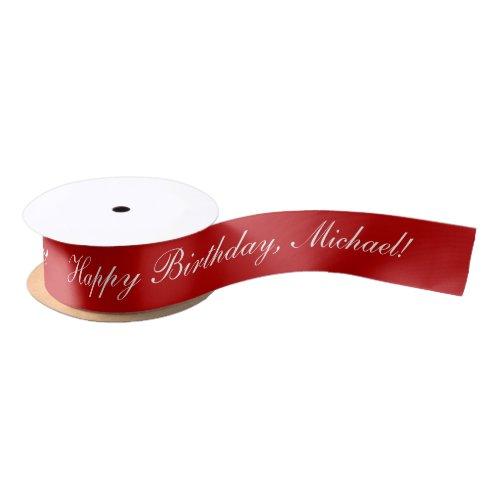 Happy Birthday Custom Text Red Chic Satin Ribbon