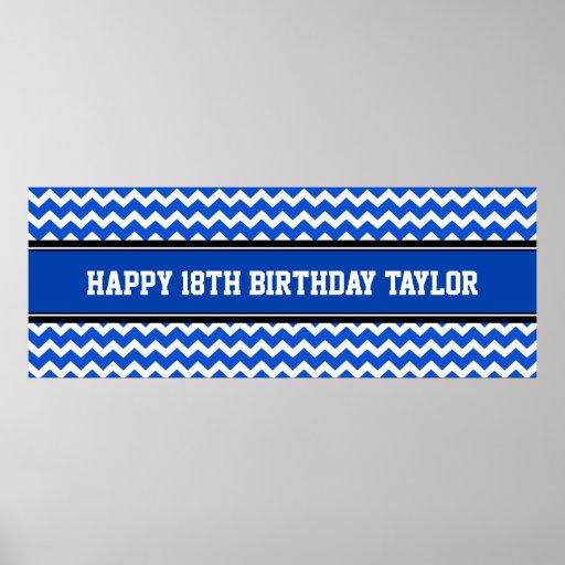 Happy Birthday Custom Year Name Banner Blue Poster