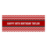 Happy Birthday Custom Year Name Banner Red Poster