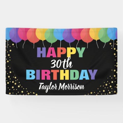 Happy Birthday Custom Year Name Colorful Balloons Banner