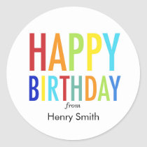Happy Birthday Customizable Stickers for Gifts