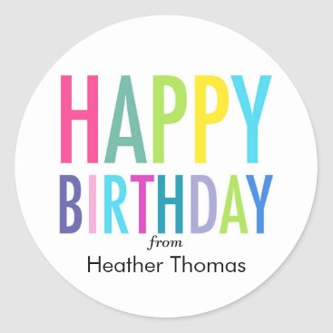 LNZart Happy Birthday Customizable Stickers for Gifts