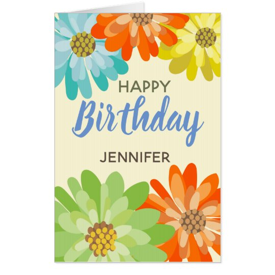 4050ef8f3c06 Happy Birthday customize name spring flowers Card