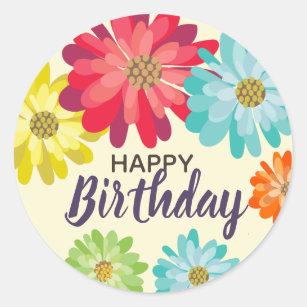 Flowers happy birthday name stickers zazzle happy birthday customize name spring flowers classic round sticker mightylinksfo