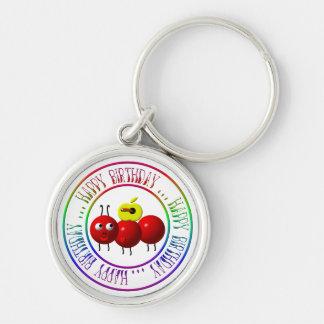 Happy Birthday - Cute ant with apple Keychain