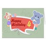 Happy Birthday - Cute Bear Custom Age Card