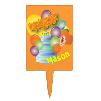 Happy Birthday Cute Cartoon Clown for Kids Cake Topper