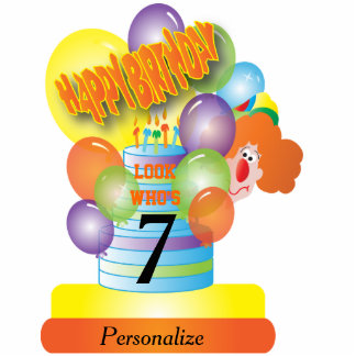 Happy Birthday Cute Cartoon Clown for Kids Cutout
