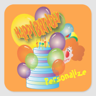 Happy Birthday Cute Cartoon Clown for Kids Square Sticker