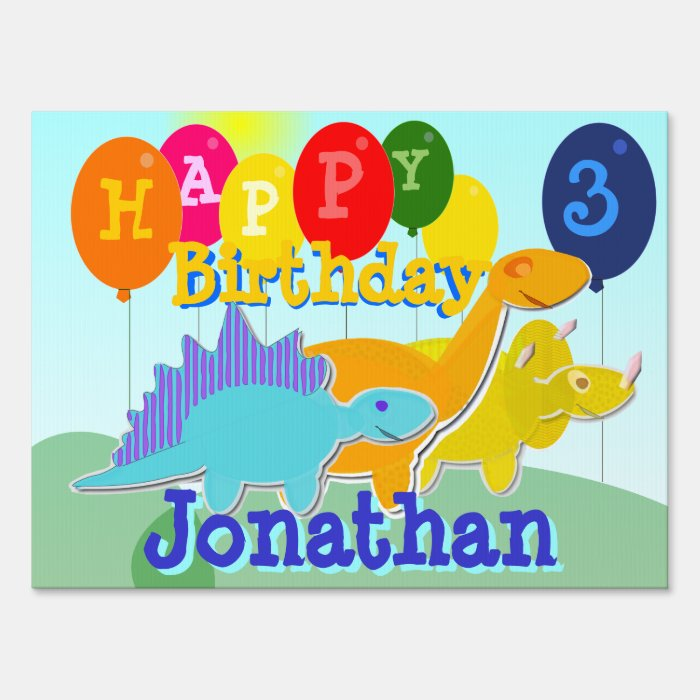 Happy Birthday Cute Cartoon Dinosaurs Signs