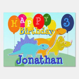 Happy Birthday Cute Cartoon Dinosaurs Yard Sign