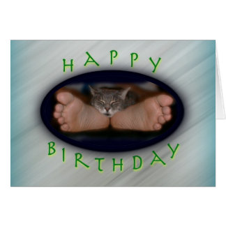 Happy Birthday cute cat on feet Cassie Feet Card