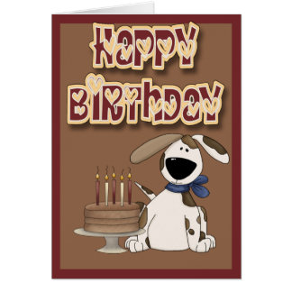 Happy Birthday Cute Dog and Cake Card