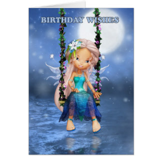 Happy Birthday cute fairy on a floral swing card