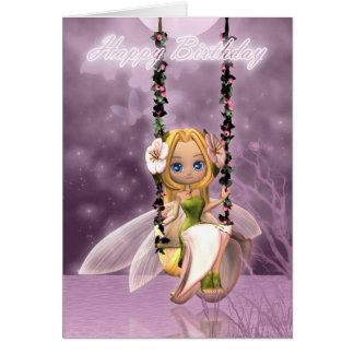 Happy Birthday cute fairy on flower swing, magical Greeting Cards