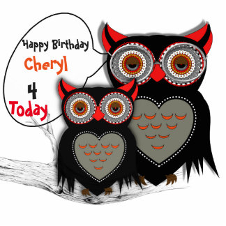 Happy Birthday Cute Mom And Baby Owl Party Decor Statuette