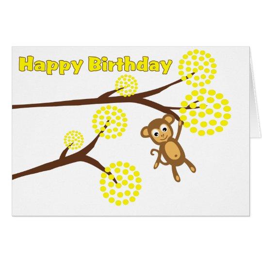 Happy Birthday Cute Monkey Card