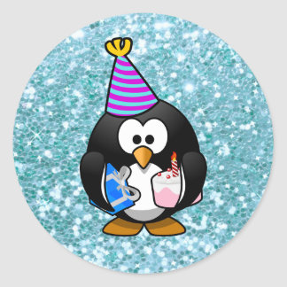 Happy Birthday Cute Penguin with Gifts Sticker