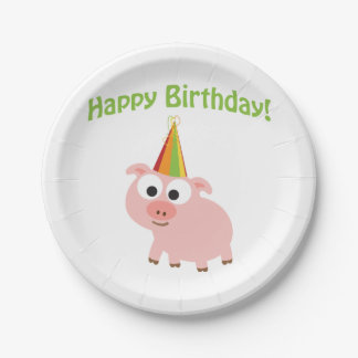 Happy Birthday! Cute Pig 7 Inch Paper Plate