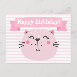 happy birthday cute pink cat kids birthday announcement postcard
