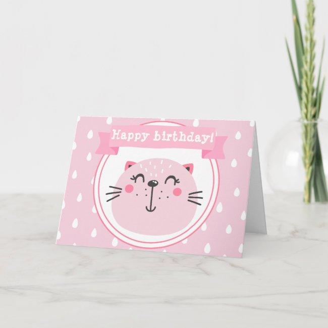 Happy birthday! Cute Pink Cat - Kids Birthday