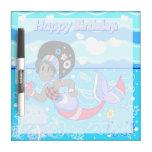 """Happy Birthday"" Cute Pretty Mermaid Dry-Erase Whiteboards"