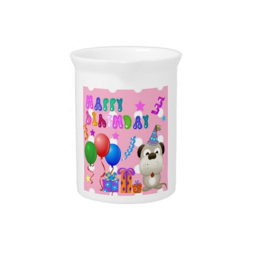 Happy birthday cute puppy with cake and gifts pink beverage pitchers