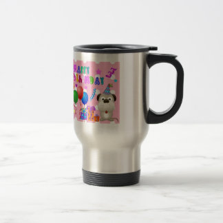Happy birthday cute puppy with cake and gifts pink travel mug