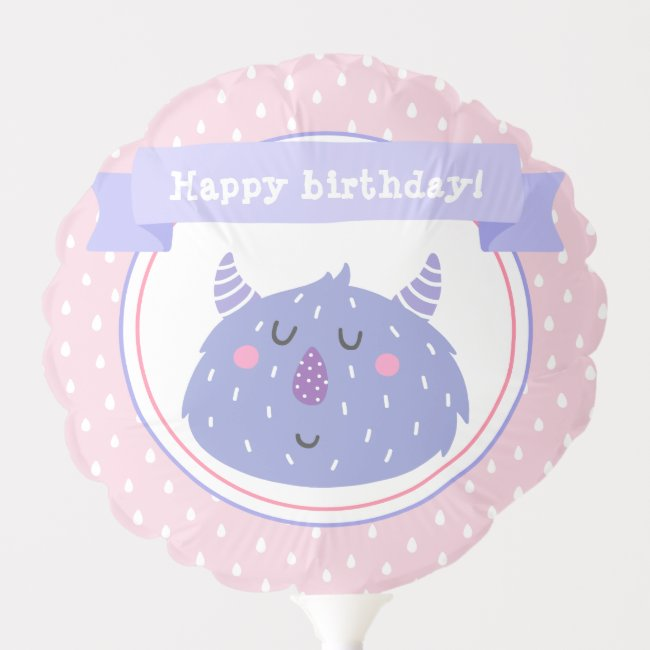 Happy birthday! Cute Purple Monster