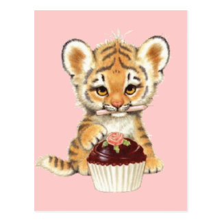 Happy Birthday - Cute Tiger with Cupcake Postcard