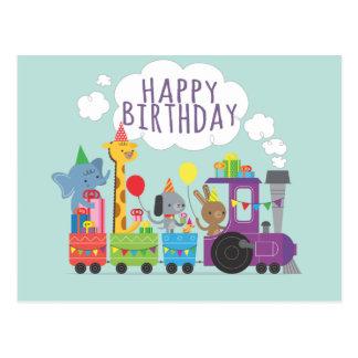 Happy birthday cute zoo animal characters train postcard