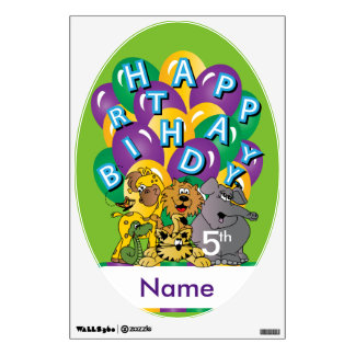 Happy Birthday Cute Zoo Animals | Personalize Wall Sticker