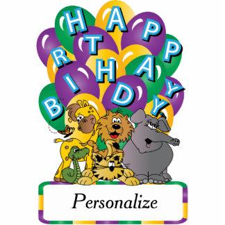 Happy Birthday Cute Zoo Animals Standing Photo Sculpture