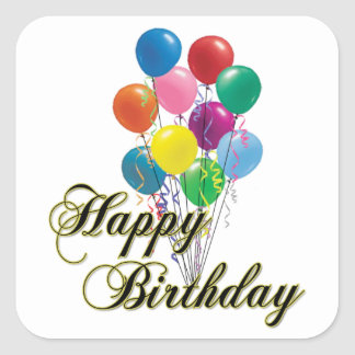 Happy Birthday - D4 Square Sticker
