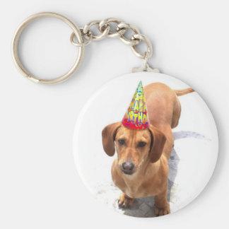 Happy Birthday Dachshund Keychain