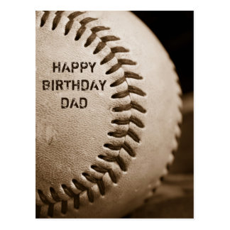 Happy Birthday Dad Baseball Postcard