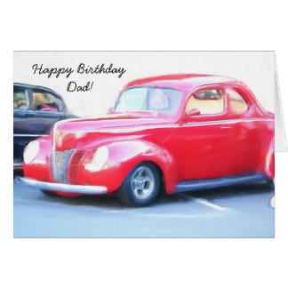 Happy Birthday Dad Classic Red car greeting card