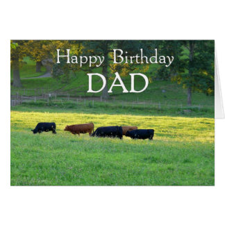 Happy Birthday DAD-Cows in pasture/Customizable Card