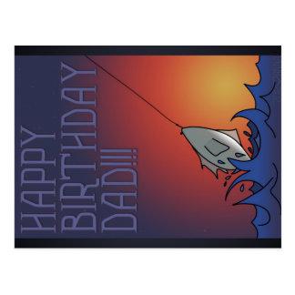 Happy Birthday - Dad Fishing - Postcard