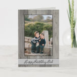 """Happy Birthday Dad Rustic Gray Wood Photo Card<br><div class=""""desc"""">The perfect Birthday Card for dad, this rustic design is truly one of a kind. Featuring your personal photos set upon a nice gray wood background. The photo border can be adjusted to fit the size of the photo you added. You can also change the color and thickness of the...</div>"""