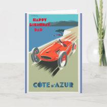 Happy Birthday Dad Vintage Racing Car Card