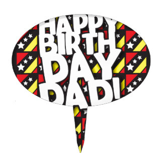 Happy Birthday DAD! with birthdays candles Cake Topper