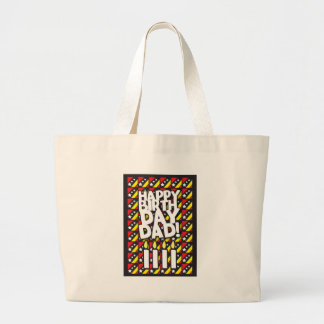 Happy Birthday DAD! with birthdays candles Large Tote Bag